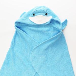 голубой кит полотенце из натурального махрового хлопка с капюшоном для детей