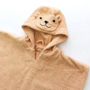 махровое детское пончо с капюшоном мишка