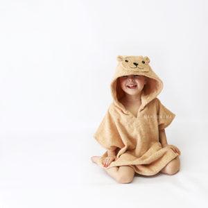 пончо с капюшоном махровое детское мишка