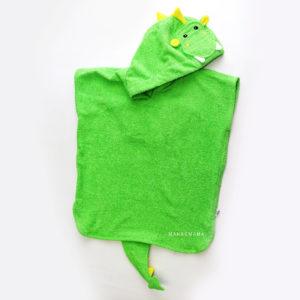 махровое детское пончо дракон зеленый