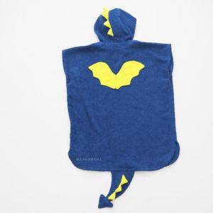 махровое пончо дракон синий с желтыми крыльями