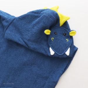 пончо махровое с капюшоном для детей и взрослых дракон