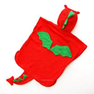 махровое пончо для ребенка красный дракон