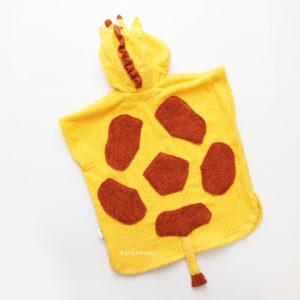 махровое пончо жираф желтый для детей