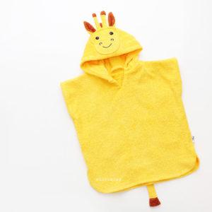 детское желтое пончо махровое жираф