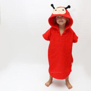 махровое пончо с капюшоном красная божья коровка для детей и взрослых