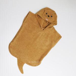 детское махровое пончо с капюшоном выдра