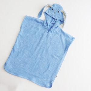 пончо махровое детское для ванны бассейна и пляжа зайчик голубой