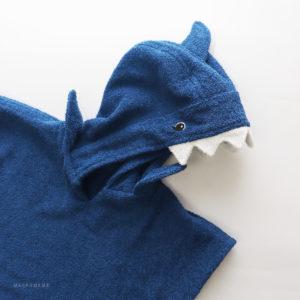 акула пончо синее махровое с капюшоном для детей
