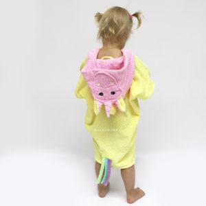 махровое пончо для пляжа детское единорог розовый