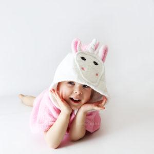 розовый единорог пончо с капюшоном