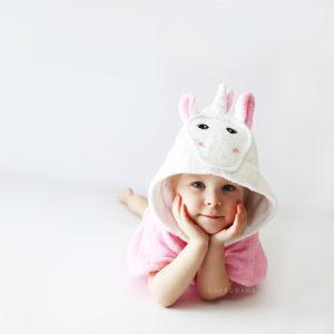 детское махровое пончо единорог розовый