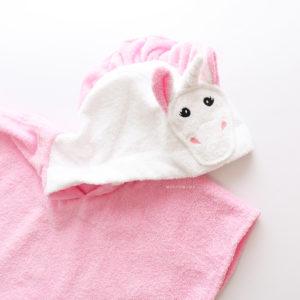 полотенце пончо единорог розовый