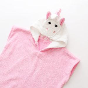 розовый единорог пончо махровое с капюшоном