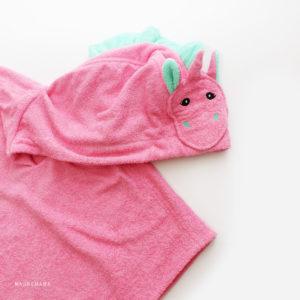 махровое пончо с капюшоном единорог розовый для детей и взрослых