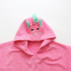 пончо халат единорог розовый махровый
