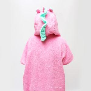 махровое пончо с капюшоном единорог розовый