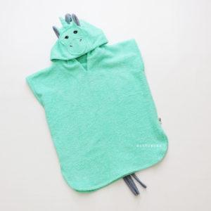 мятный единорог махрвоое пончо с капюшоном детское