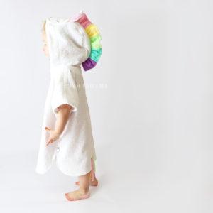 пончо махровое с капюшоном единорог детское