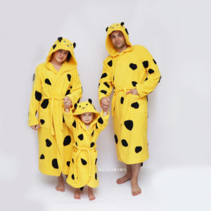 махровый халат для мужчин женщин и детей леопард