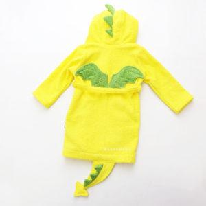 ХАЛАТ махровый детский с капюшоном дракончик желтый