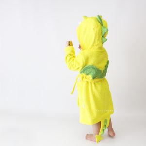 детский махровый халатик желтый дракончик