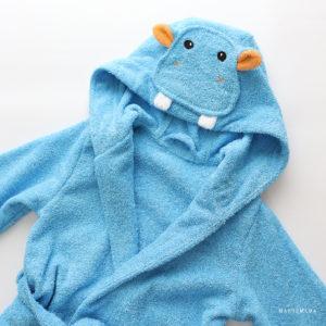 махровый халат для детей голубой бегемотик