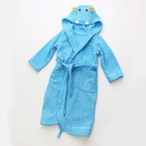 детский махровый халат с капюшоном бегемотик