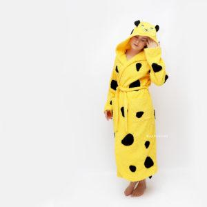 махровый халат с капюшоном женский леопард