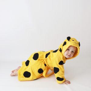 детский махровый халат леопард с ушками и хвостиком