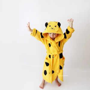 махровый халат с капюшоном с ушками с мордочкой леопард