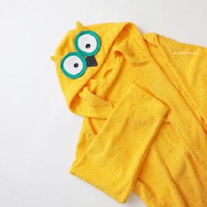 женский махровый халат сова желтая