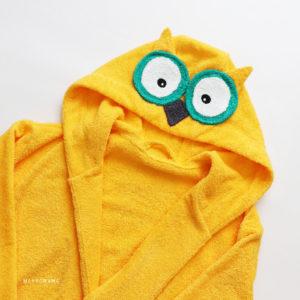 махровый халат с капюшоном для женщин сова желтая