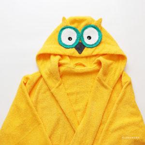 махровый женский халат с капюшоном сова желтая