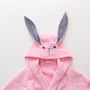 халат для девочки махровый розовый заяц