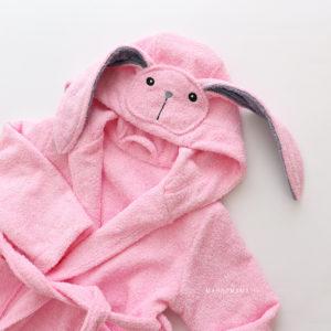 махровый халатик детский розовый зайчик с ушками
