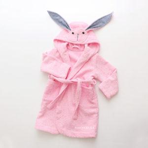 махровый халат для девочки розовый зайка