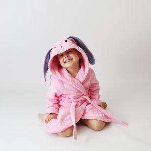 халат махровый с ушками зайчик розовый
