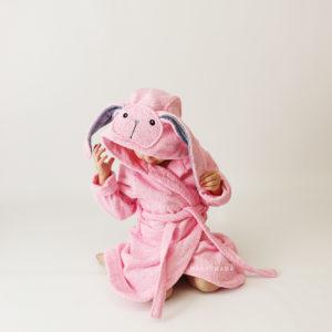 зайчик розовый с ушками халат махровый детский с капюшоном