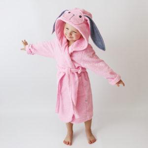 халатик детский махровый розовый зайка
