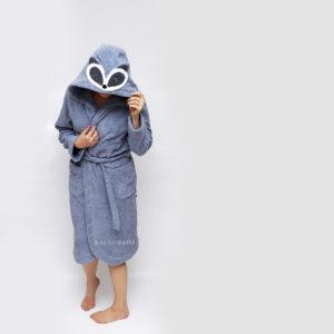 женский махровый халат енот серый