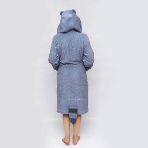 мужской махровый халат енот серый с капюшоном