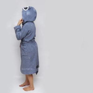 махровый халат с капюшоном с ушками и хвостиком енот серый