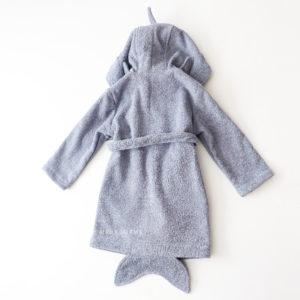 махровый халат для детей и взрослых серая акула