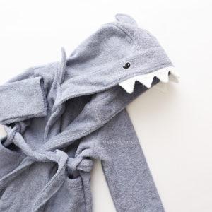 акула махровый халат с капюшоном
