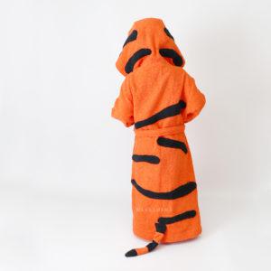 махровый халат с капюшоном тигр рыжий