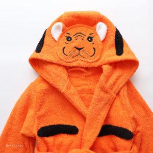 детский махровый халат тигренок рыжий