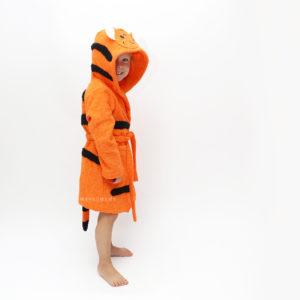 детский махровый халат с капюшоном тигр рыжий