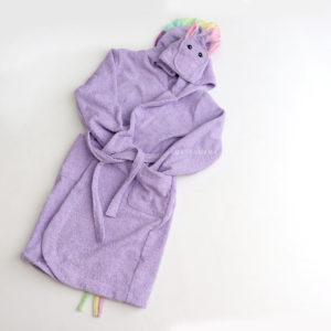 махровый халат женский единорог сиреневый с радужной гривой