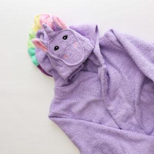 махровый халат сиреневый единорог с разноцветной гривой